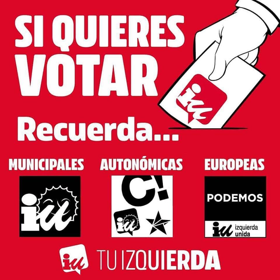 RECUERDA Si quieres votar IU, vota…
