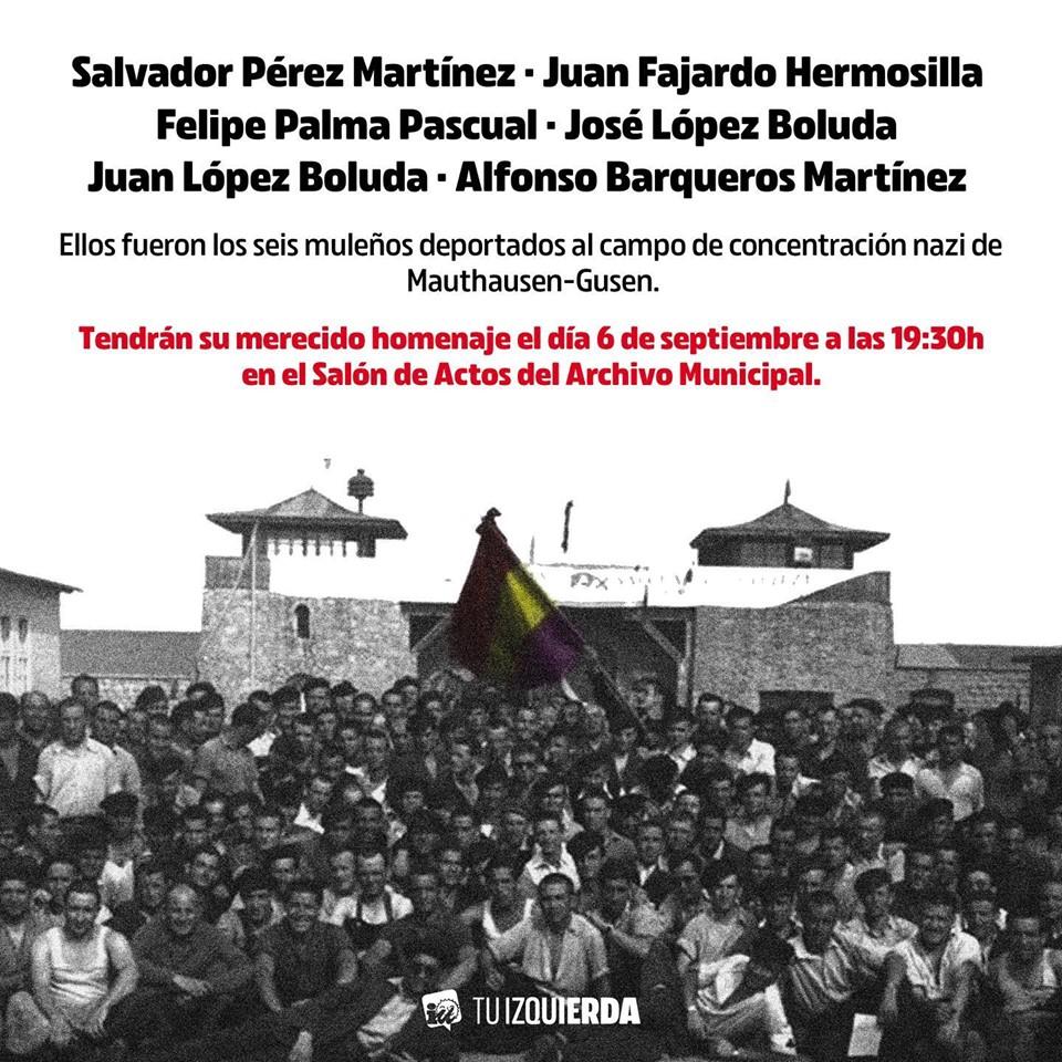 Por fin!!! Desde julio de 2017 que IU Mula presentó la moción y este viernes 6 de septiembre los deportados muleños tendrán su merecido Homenaje.